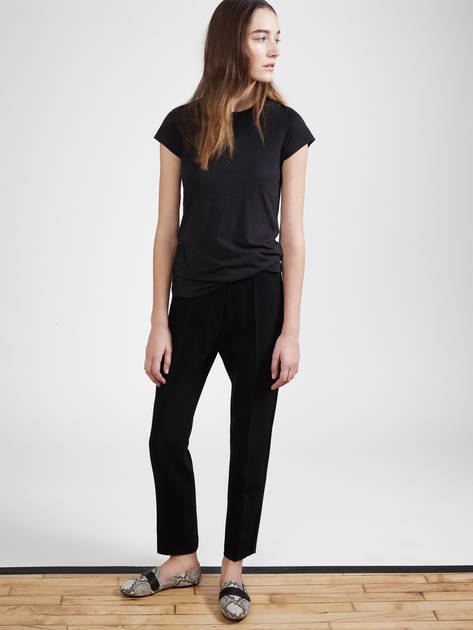 Vince Little Boy Tee - Black, Pallas Venus Trousers – Noir, Newbark Josephine Loafer - Snake/Black