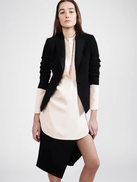 Protagonist Tunic 01, 4-Ply Silk Crepe - Flush, Pallas Gamma Skirt - Noir, Pallas Andromede Jacket - Noir