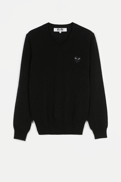 Comme des Garcons — Black Play V-Neck Sweater - Black