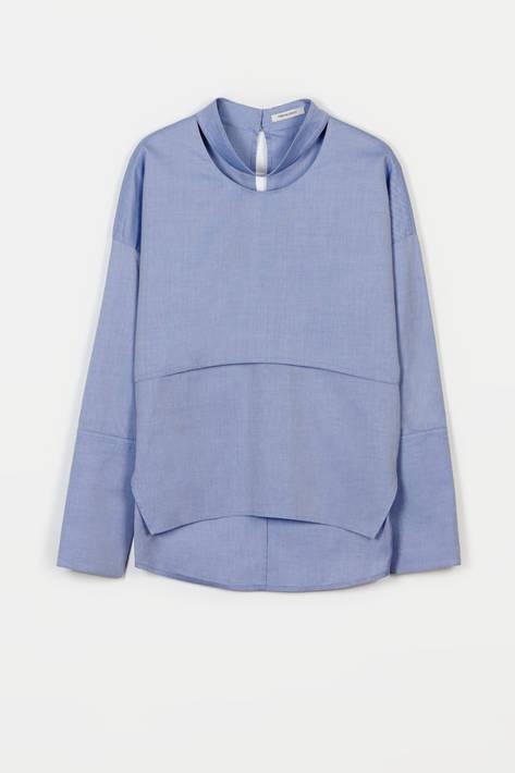 Protagonist — Shirt 02 Long Sleeve Collarbone Shirt - Blue