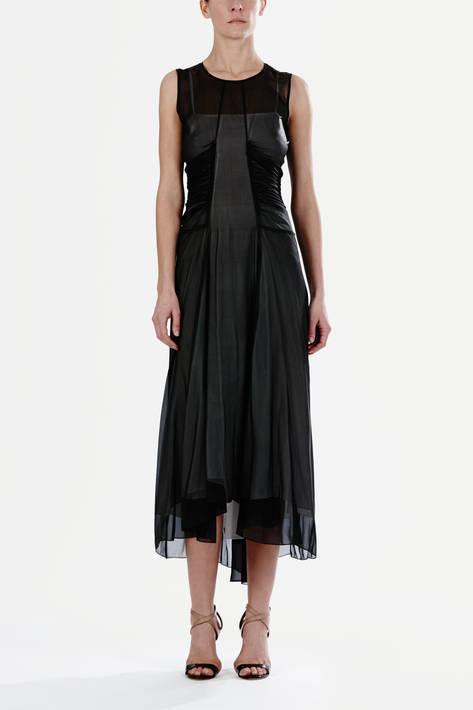 Reed Krakoff — Crewneck Ruche Dress - Black