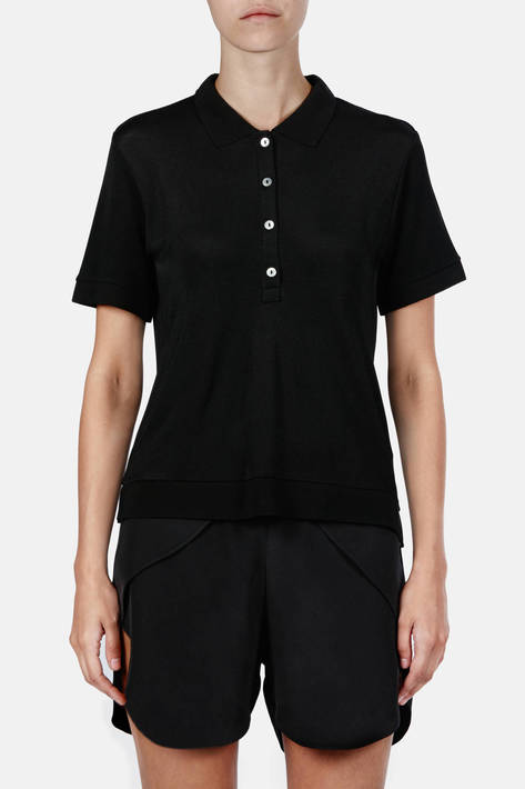 Toteme — Kensington Pique Polo - Black