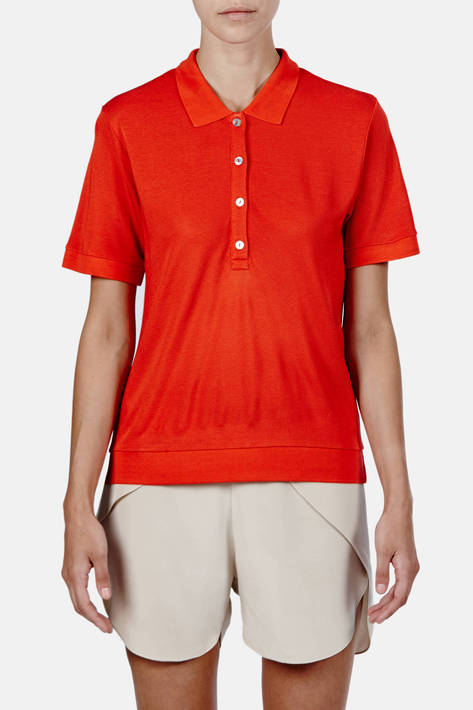 Toteme — Kensington Pique Polo - Poinciana Orange