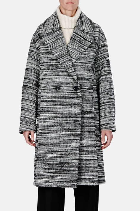 Proenza Schouler — Double Wool Tweed DB Long Coat - Black/White Melange