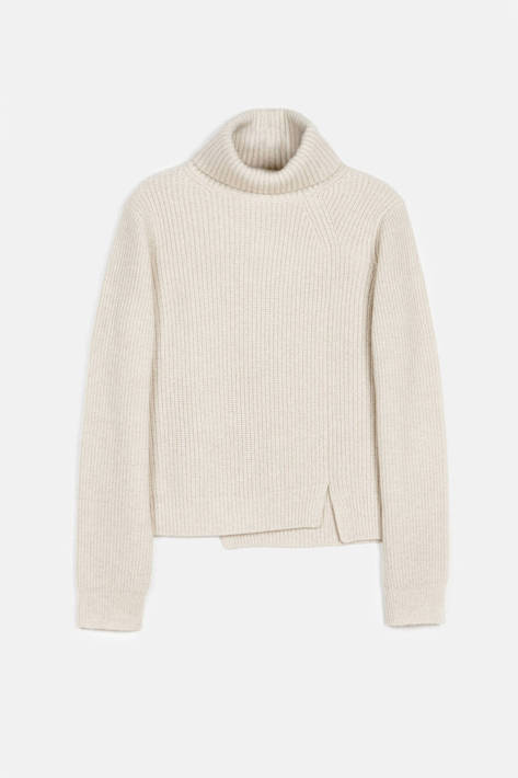 Proenza Schouler — Wool-Cashmere Rib LS Step Hem Turtleneck Sweater - Oatmeal