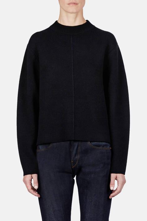 Proenza Schouler — Double Face Cashmere LS Step Hem Crewneck Sweater - Black