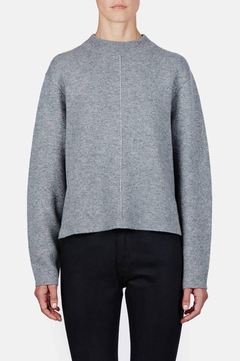 Proenza Schouler — Double Face Cashmere LS Step Hem Crewneck Sweater - Grey Melange