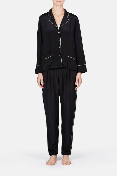 Raphaella Riboud — Long Sleeve Pajama Shirt with Pockets & Tapered Pajama Pant - Noir Drap