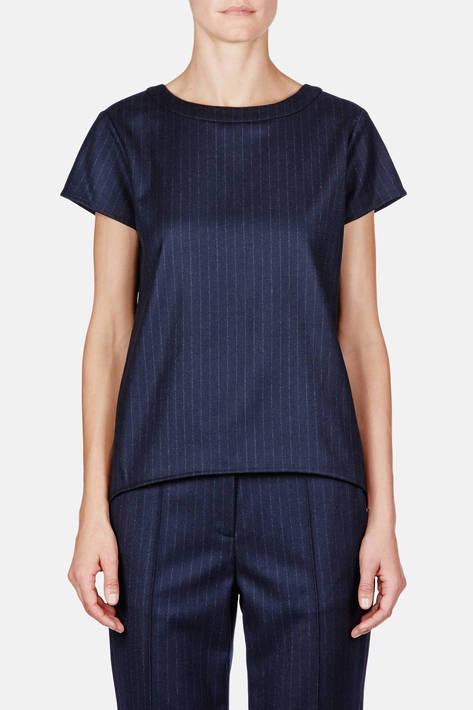 Protagonist — T-Shirt 01, Pinstripe Cashmere - Navy Pinstripe