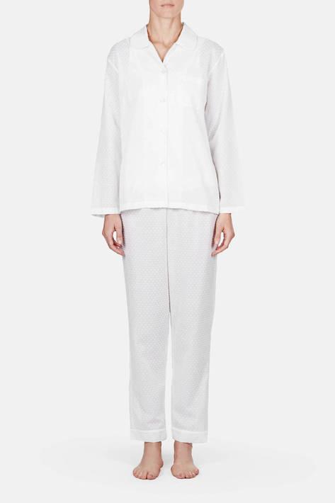 Raphaella Riboud — Long Sleeve Pajama Shirt & Cropped Pajama Pant - Plumetis Blanc