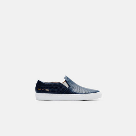 Woman by Common Projects — Slip-On in Perforated Leather - Navy