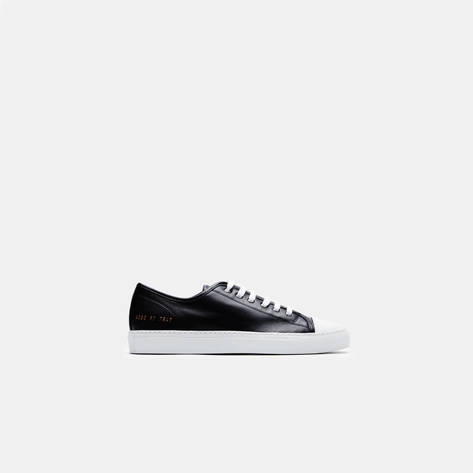 Woman by Common Projects — Tournament Cap Toe Low in Leather - Black