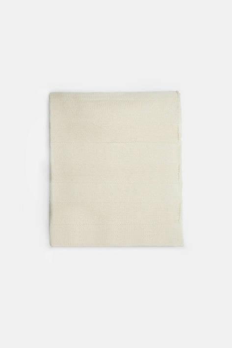 Armand Diradourian — Jersey Stripe Knit Throw - Ivory