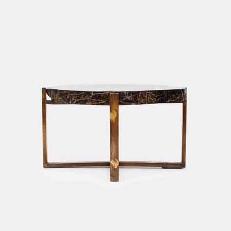 Andrianna Shamaris — Petrified Wood Side Table on Antique Bronze Base - 30.5 x 22.5 x 17