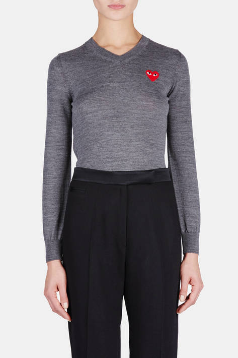 Comme des Garcons — Red Intarsia Play V-Neck Sweater - Top Grey