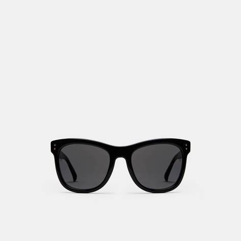 Linda Farrow — Angular Style Classic Sunglasses - Black/Yellow Gold/Solid Grey