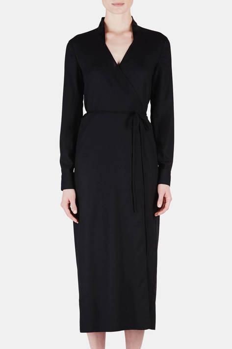 Protagonist — Dress 14 Wrap Dress with Bias Slip - Black