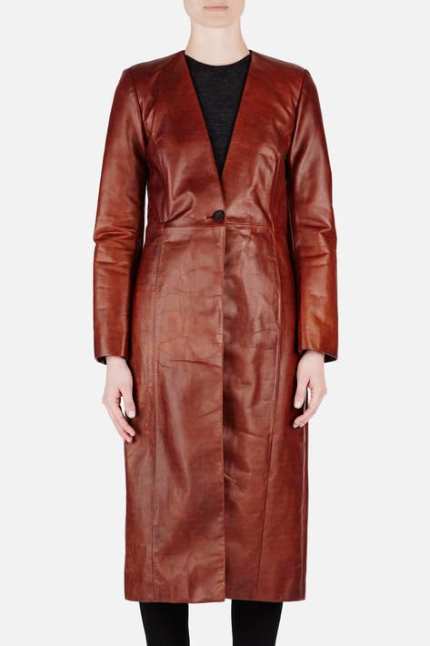 Protagonist — Coat 08 Collarless Panel Coat - Brown