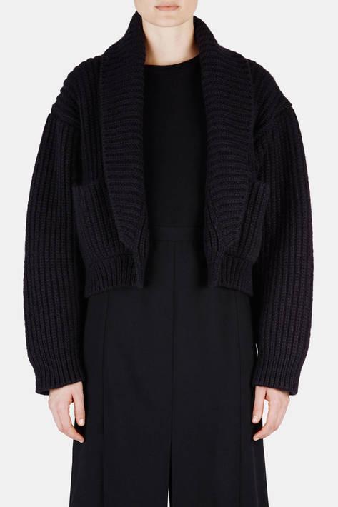 Protagonist — Sweater 13 Shawl Collar Ribbed Jacket - Black