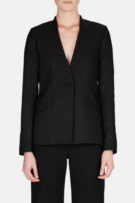 Protagonist — Jacket 08 Collarless Jacket with Angled Pockets - Black