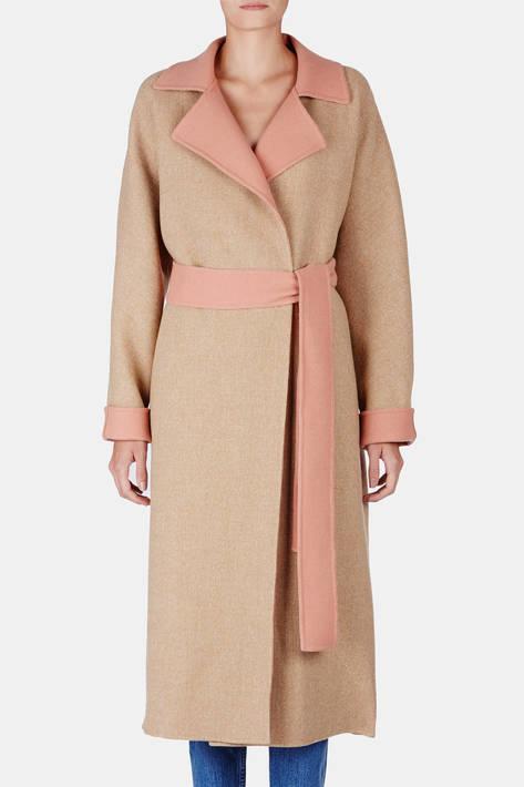 Protagonist — Coat 05 Exaggerated Overcoat with Belt - Tan Herringbone/Blush