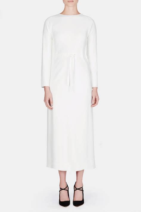 Protagonist — Dress 16 Threaded Bias Dress with Self Tie - Ivory