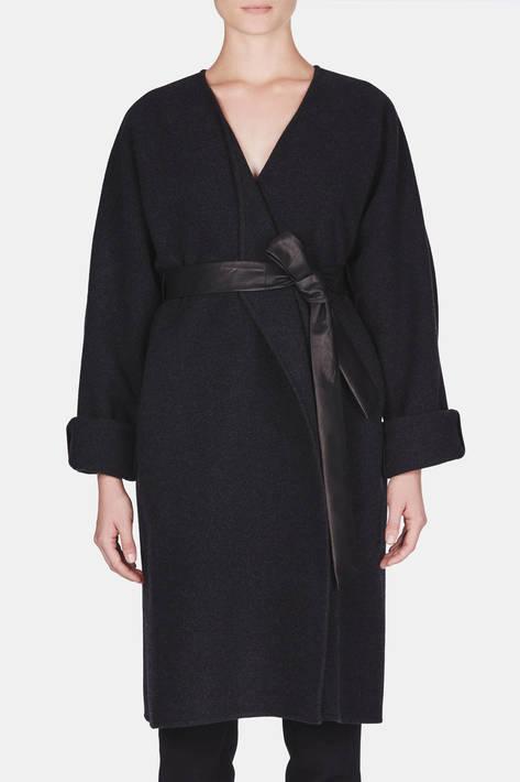 Protagonist — Coat 04 Kimono Wrap Coat with Belt - Black