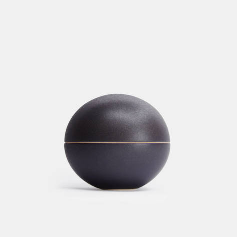 Julie Bonde — Matte Black Big Spherical Lidded Container
