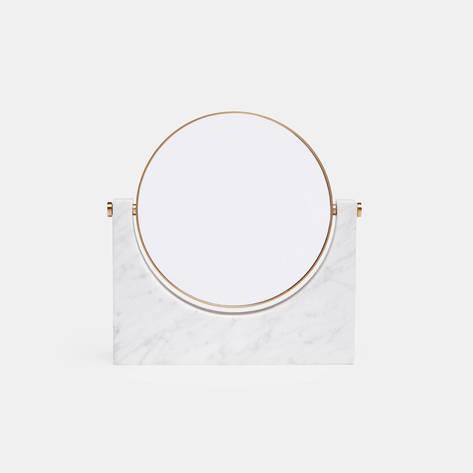 Menu — Tabletop Mirror w/Magnifying Option - White Marble