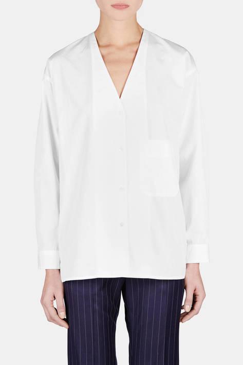 6397 — Oversized Collarless Shirt - White